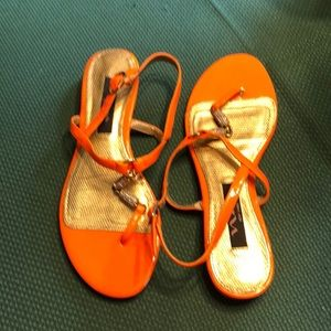 Nina orange jeweled sandals, size 6.5